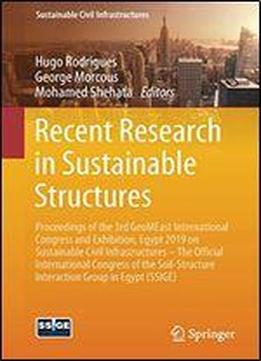 Recent Research In Sustainable Structures: Proceedings Of …